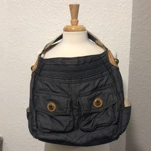 1969 Gap jeans blu cotton bag with leather trim